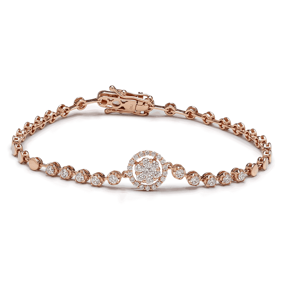 25698 - 18ct Rose Gold Diamond Bracelet