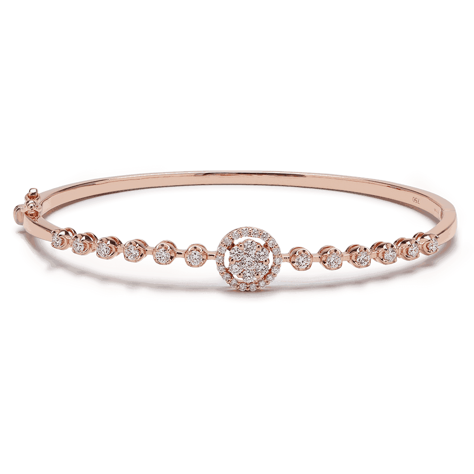 25703 - 18ct Rose Gold and Diamond Bangle Bracelet