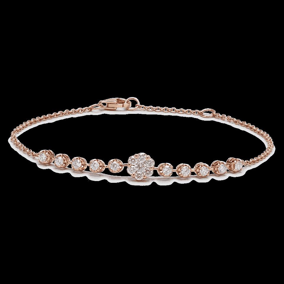 25706 - 18ct Rose Gold Diamond Bracelet