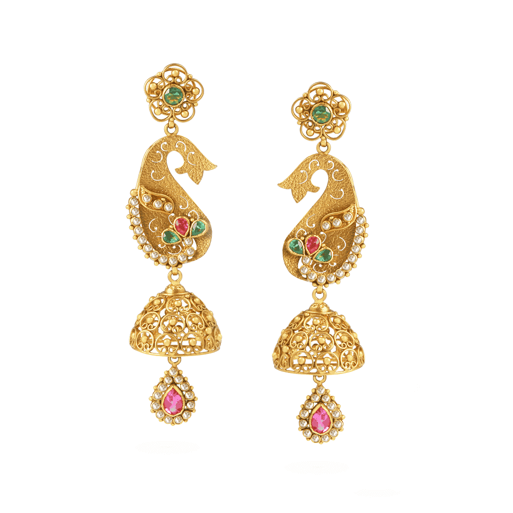 22794 - 22ct Gold Peacock Jali Earrings