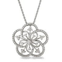 22911 - 18ct White Gold Floweret Diamond Pendant
