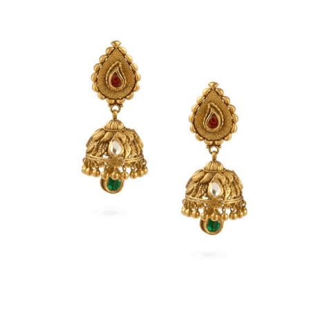 24062 - 22 Carat Gold Jumka Earrings