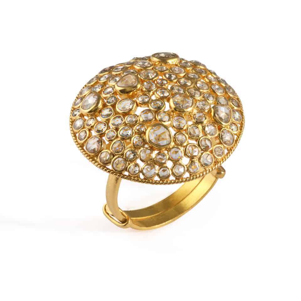24227 - Diya 22ct Gold Rosecut Polki Diamond Ring
