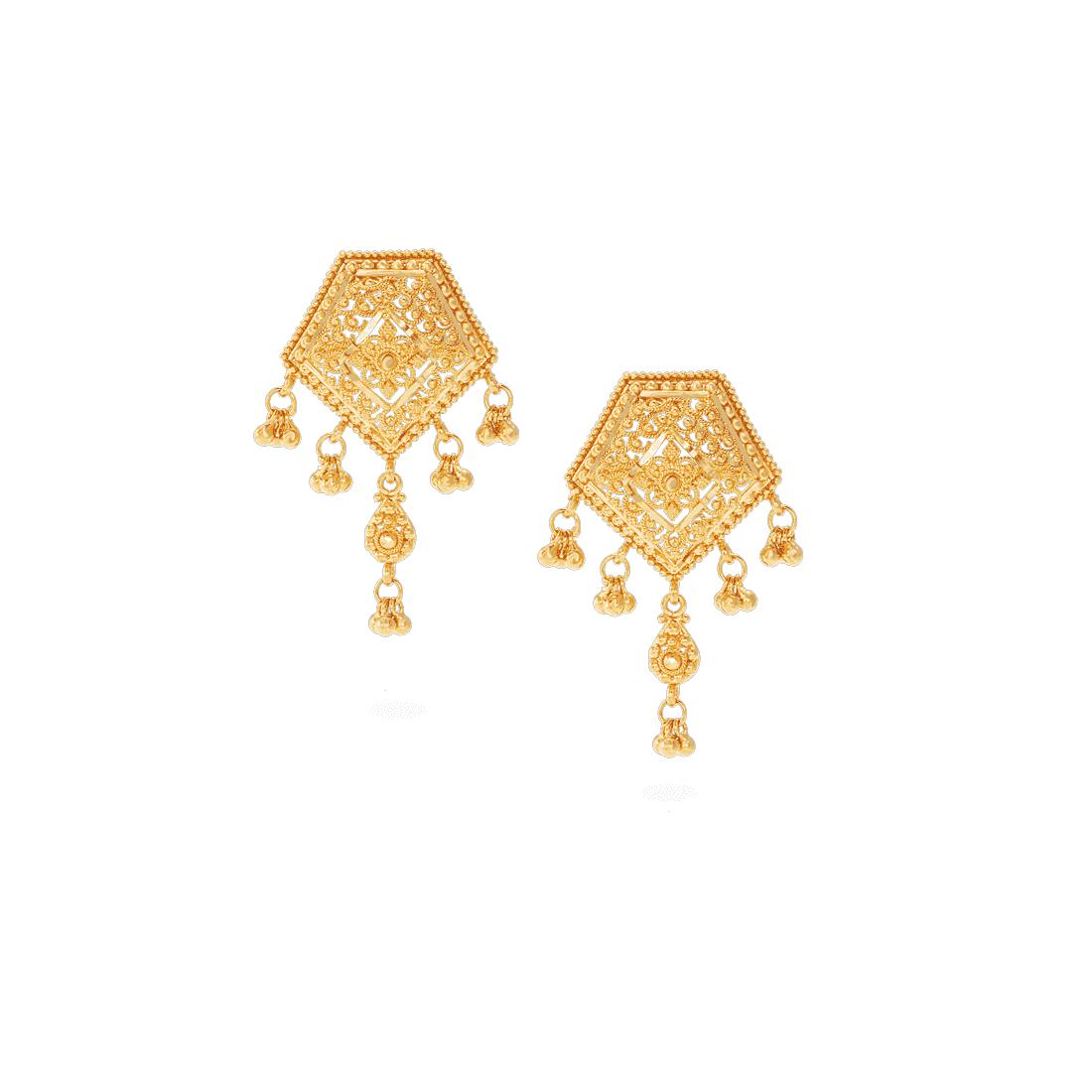 22499 - Jali 22ct Gold Filigree Earrings