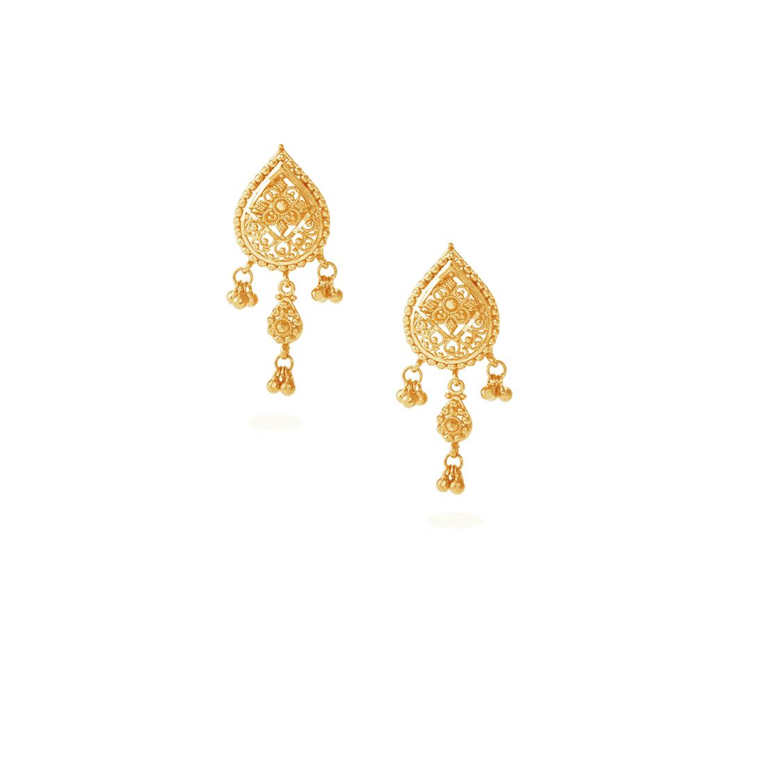 22502E - Jali 22ct Gold Filigree Earrings