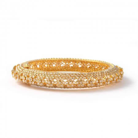 22ct Diya Gold Uncut Polki Diamond Kada Bangle