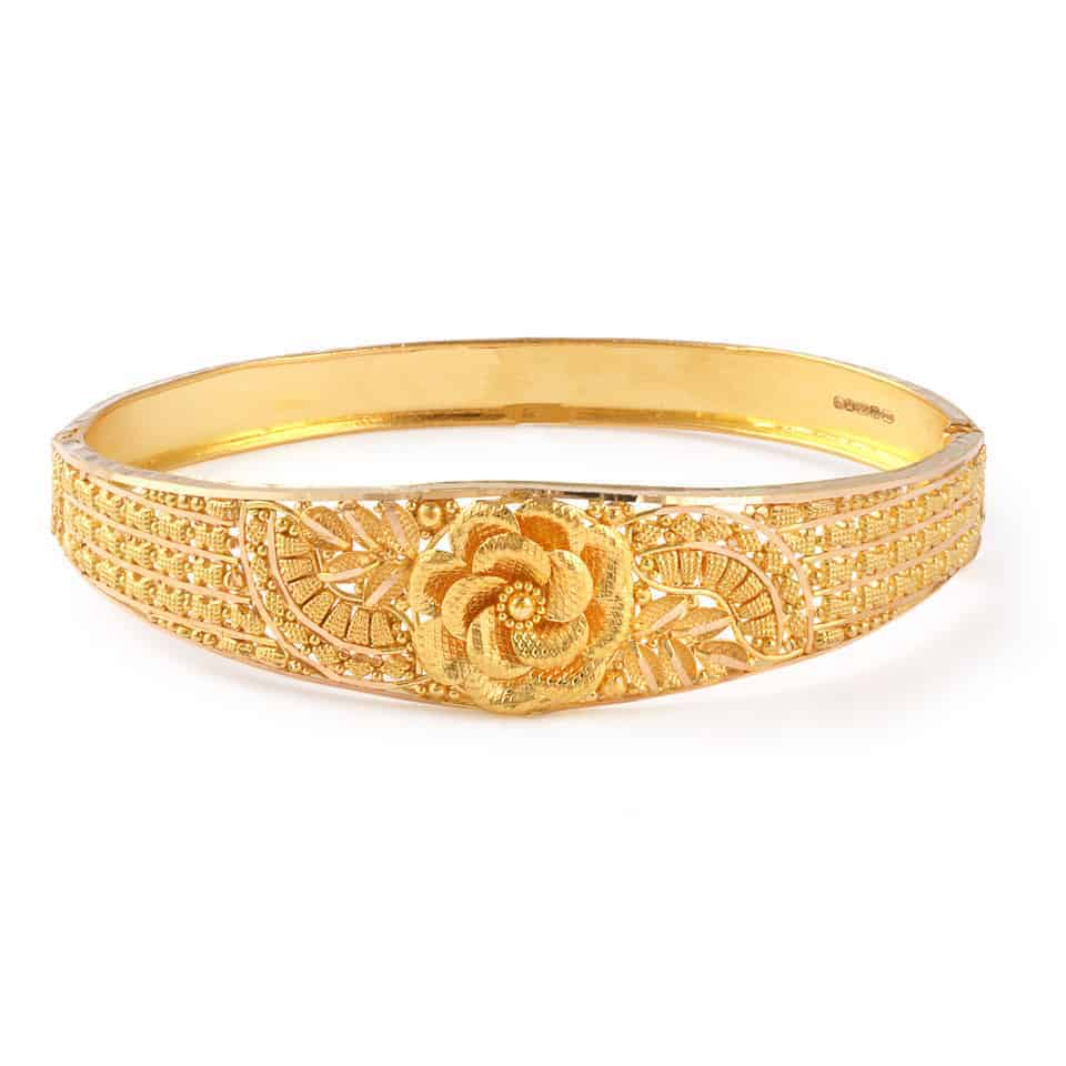 22771 - Jali 22ct Gold Filigree Bangle