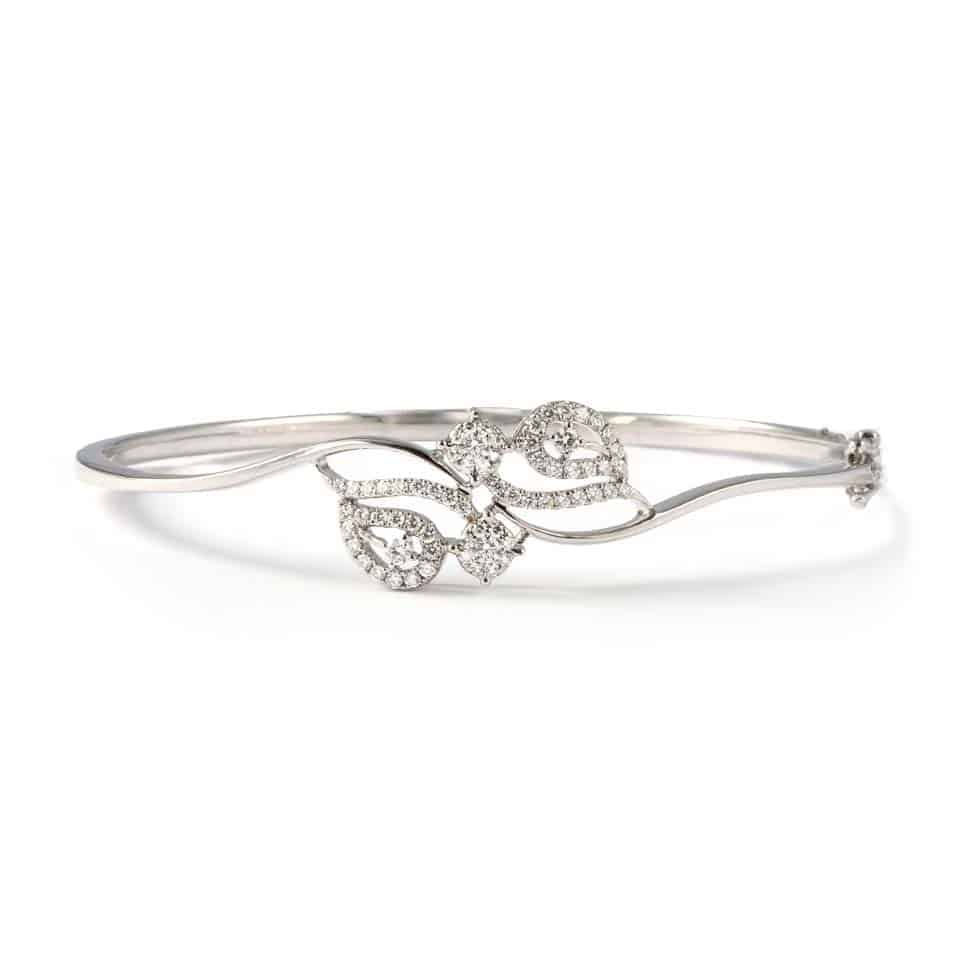 22903 - 18ct White Gold Diamond Bangle Bracelet