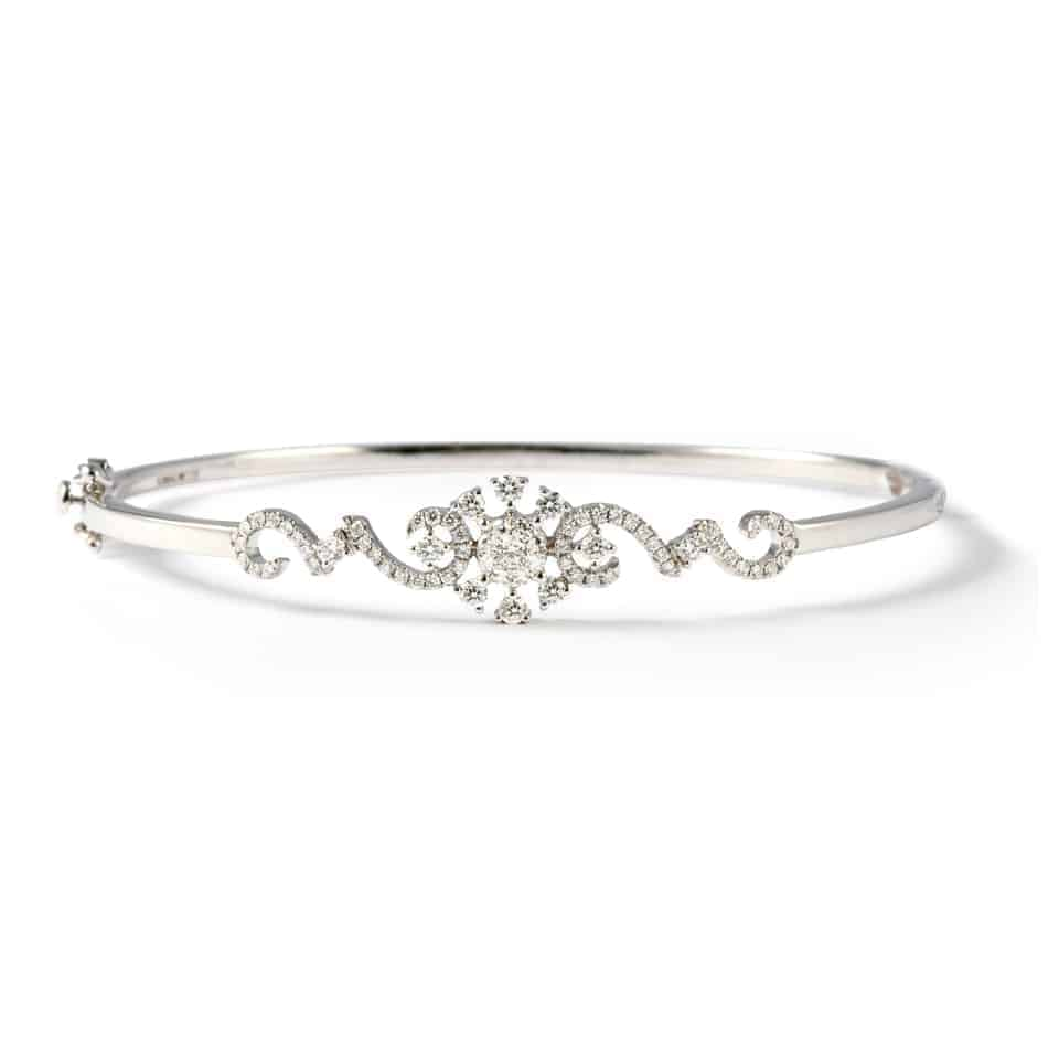 22904 - 18ct White Gold Diamond Bangle Bracelet