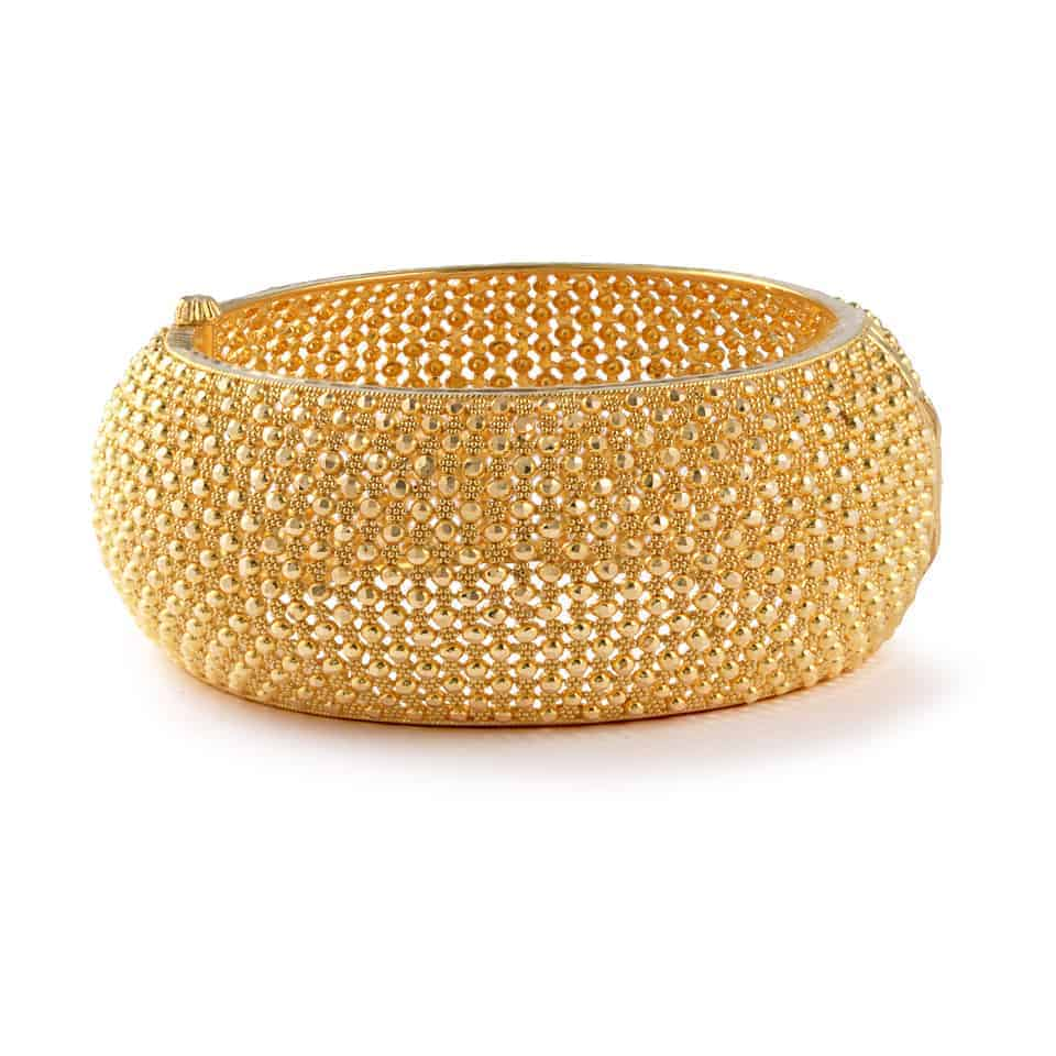 23514 - Jali 22ct Gold Filigree Kada Bangle