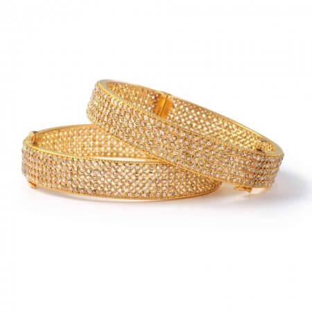 23656 - Diya 22ct Gold Uncut Polki Diamond Kada Bangle