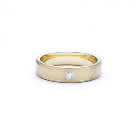 D021His - Wedding ring – brushed gold