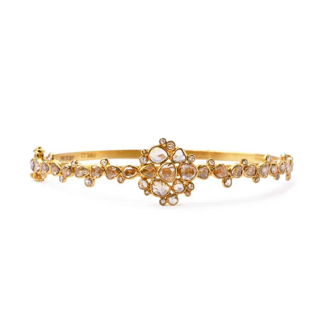 21383 - Diya 22ct Gold Uncut Polki Diamond Bangle