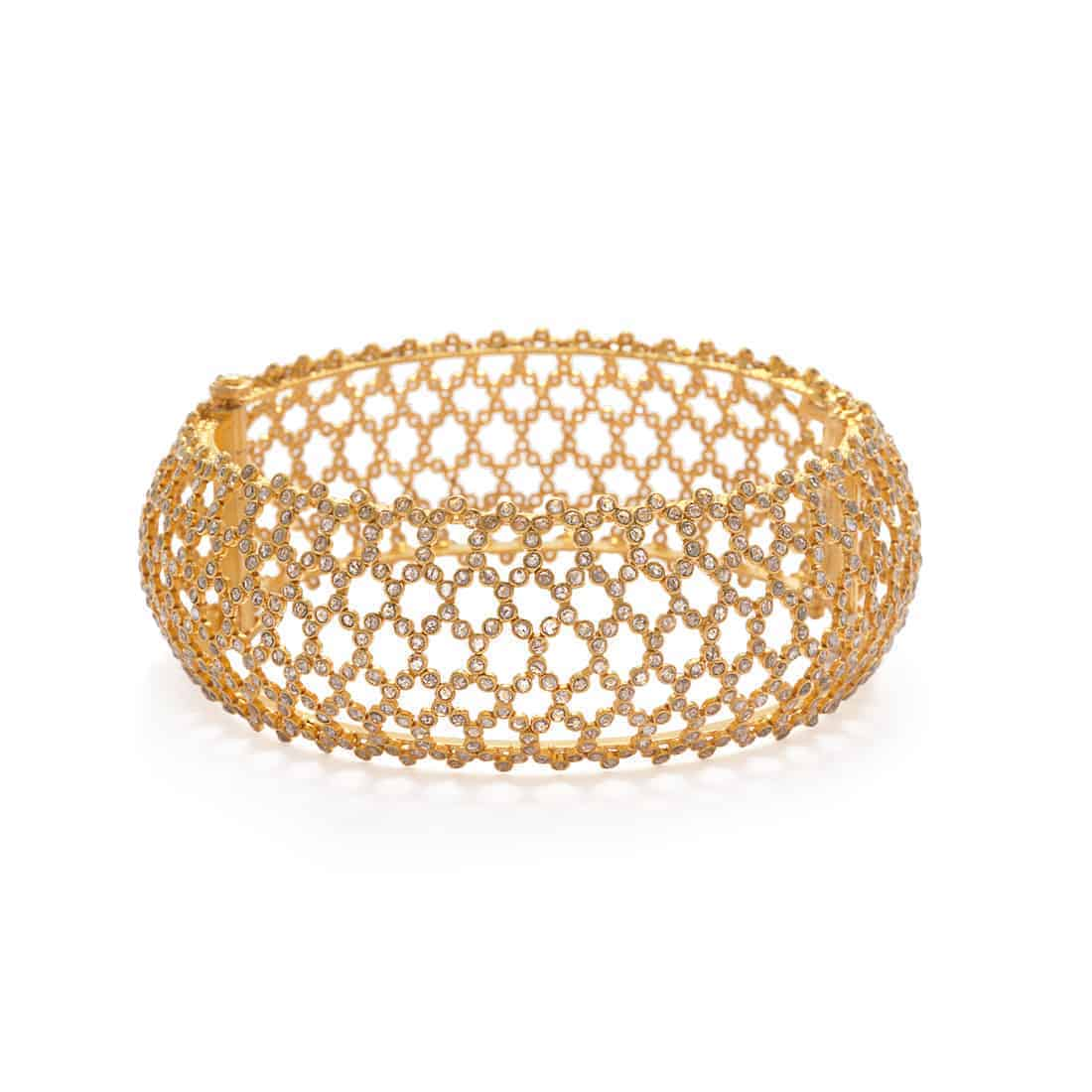 22182 - 22ct Diya Gold Uncut Polki Diamond Kada Bangle