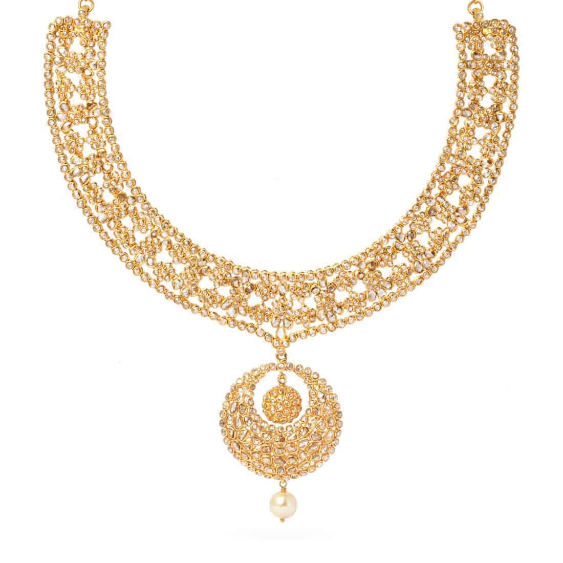 22178 - Diya 22ct Gold Uncut Polki Diamond Necklace