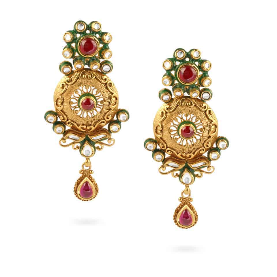 21012 - 22ct Gold Kundan Earrings