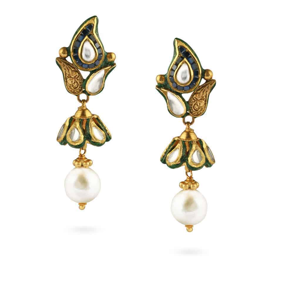 21219 - 22ct Gold Kundan Earrings