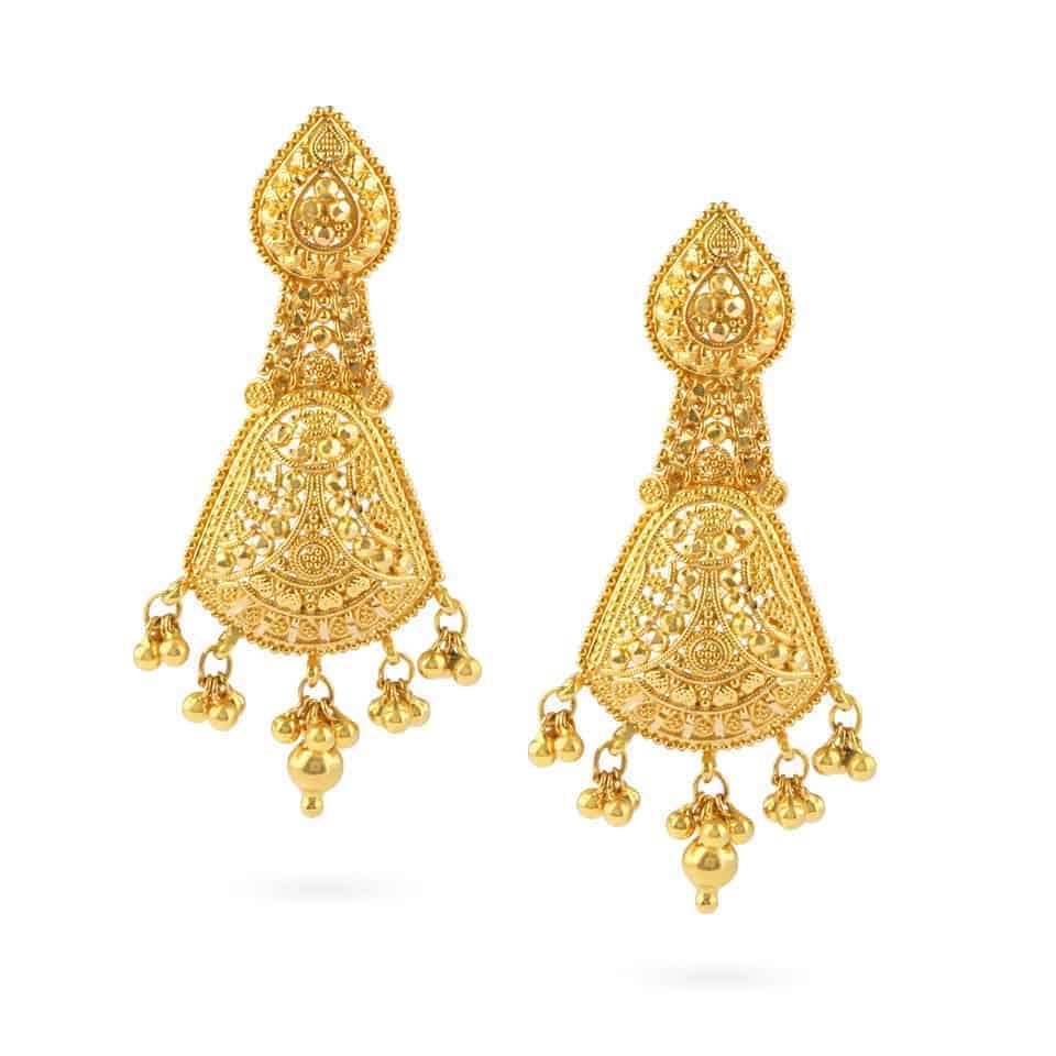 21281 - Jali 22ct Gold Filigree Earrings