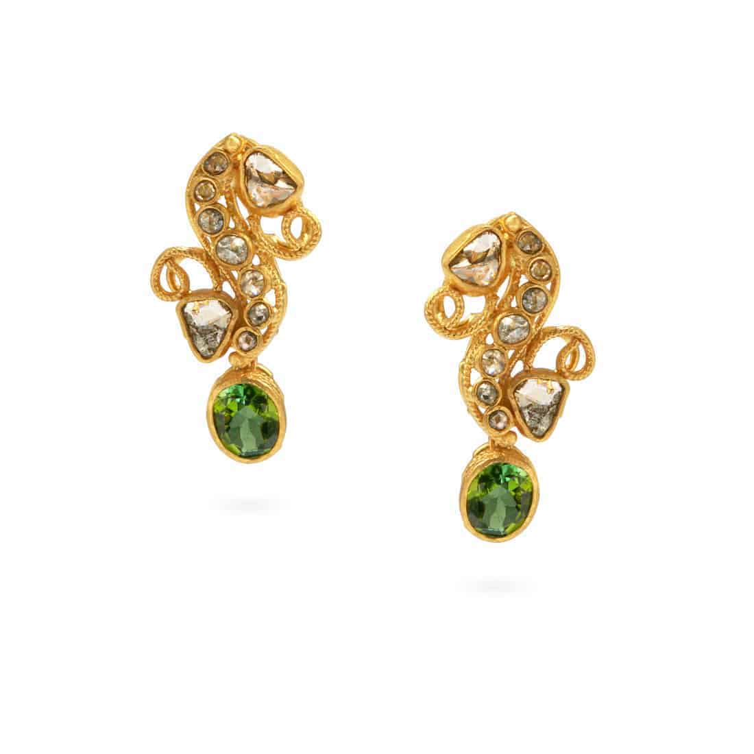 21512 - 22ct Gold Polki Diamond Earrings