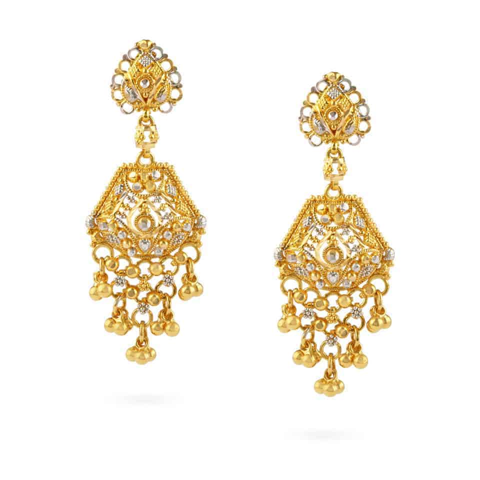 21683 - Jali 22ct Gold Filigree Earrings