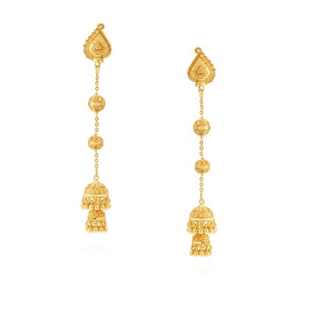 30228, 30233, 30239 - Jali 22ct Gold Jumka Earring
