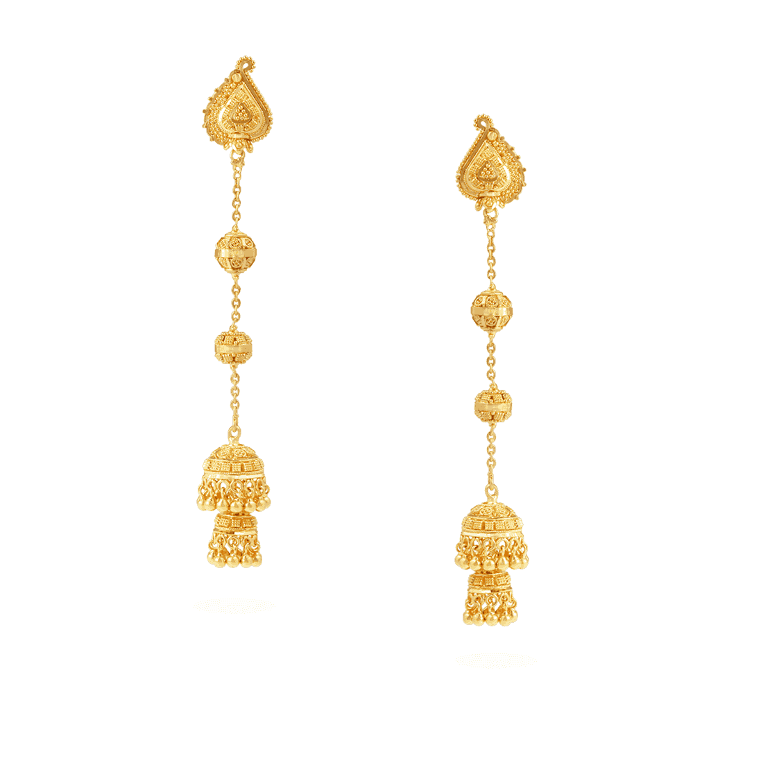 30228, 30233, 30239 - Jali 22ct Gold Jumka Earring