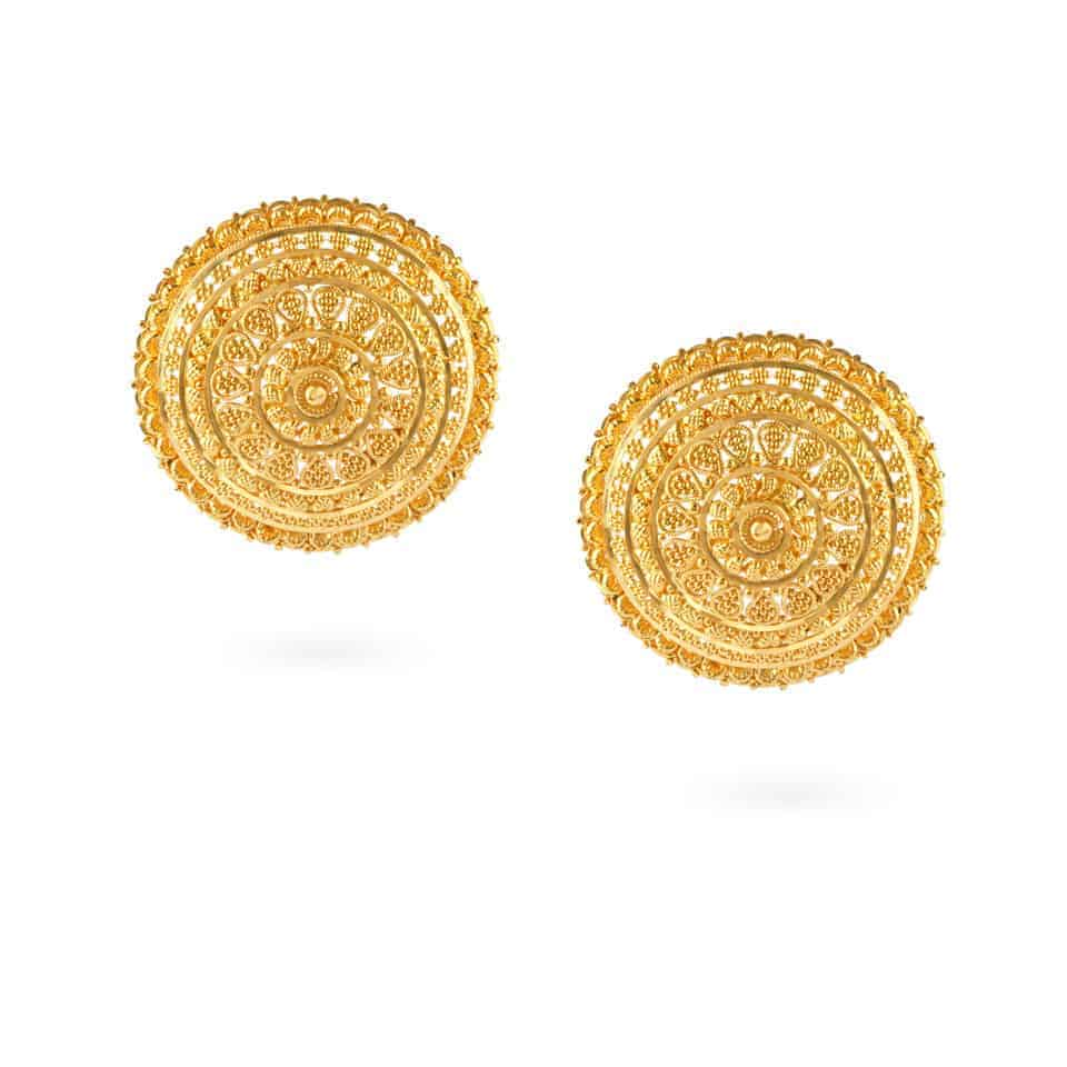24476 - Jali 22ct Gold Filigree Earrings