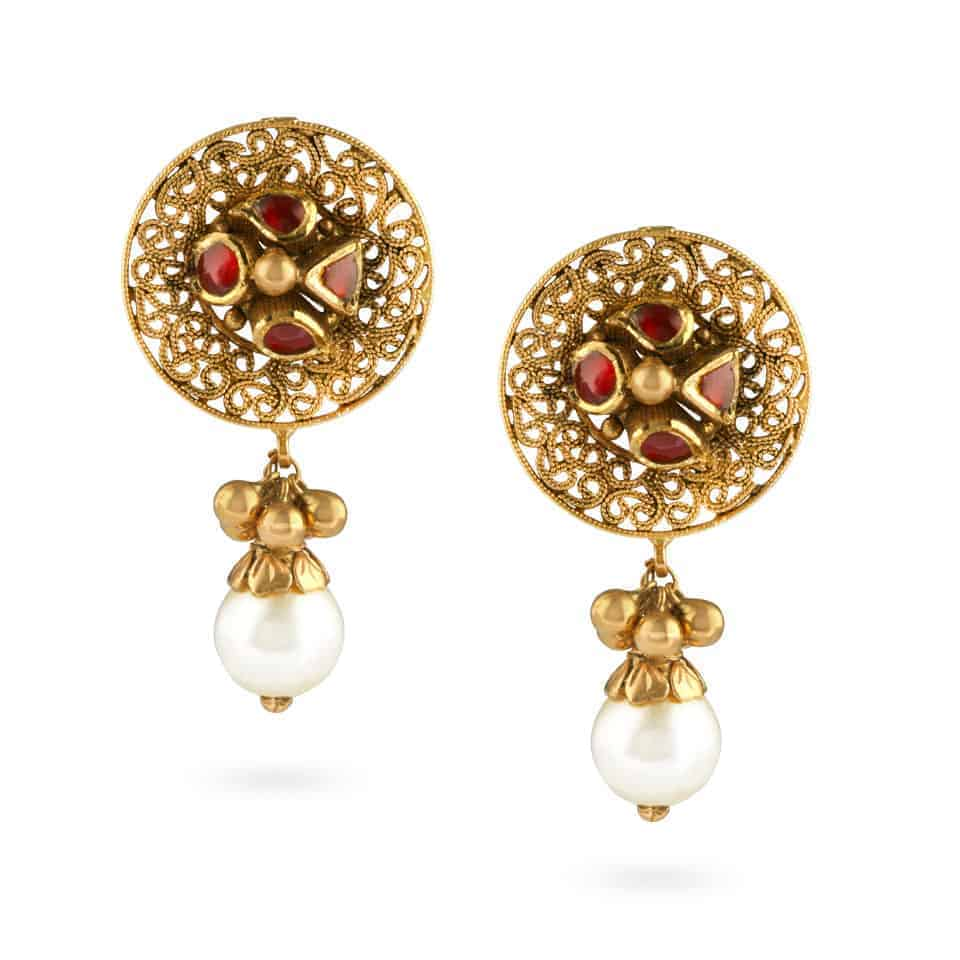 22554 - 22ct Gold Kundan Earrings