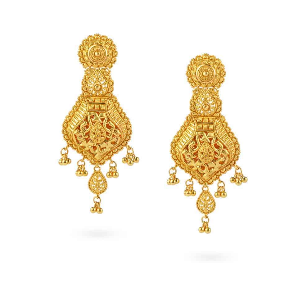 22605 - Jali 22ct Gold Filigree Earrings