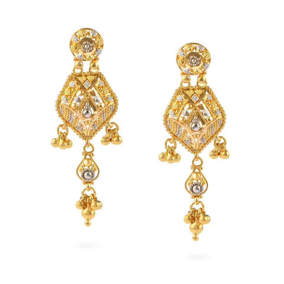 22762 - Jali 22ct Gold Filigree Earrings