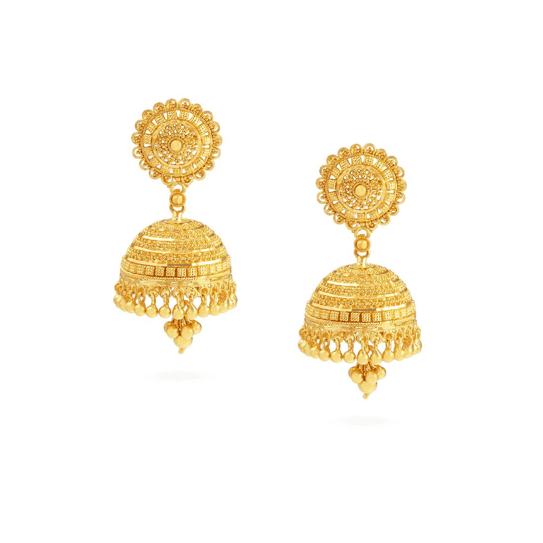 22778 - Jali 22ct Gold Filigree Earrings