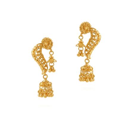 26678 - Jali 22ct Indian Gold Filigree Earrings