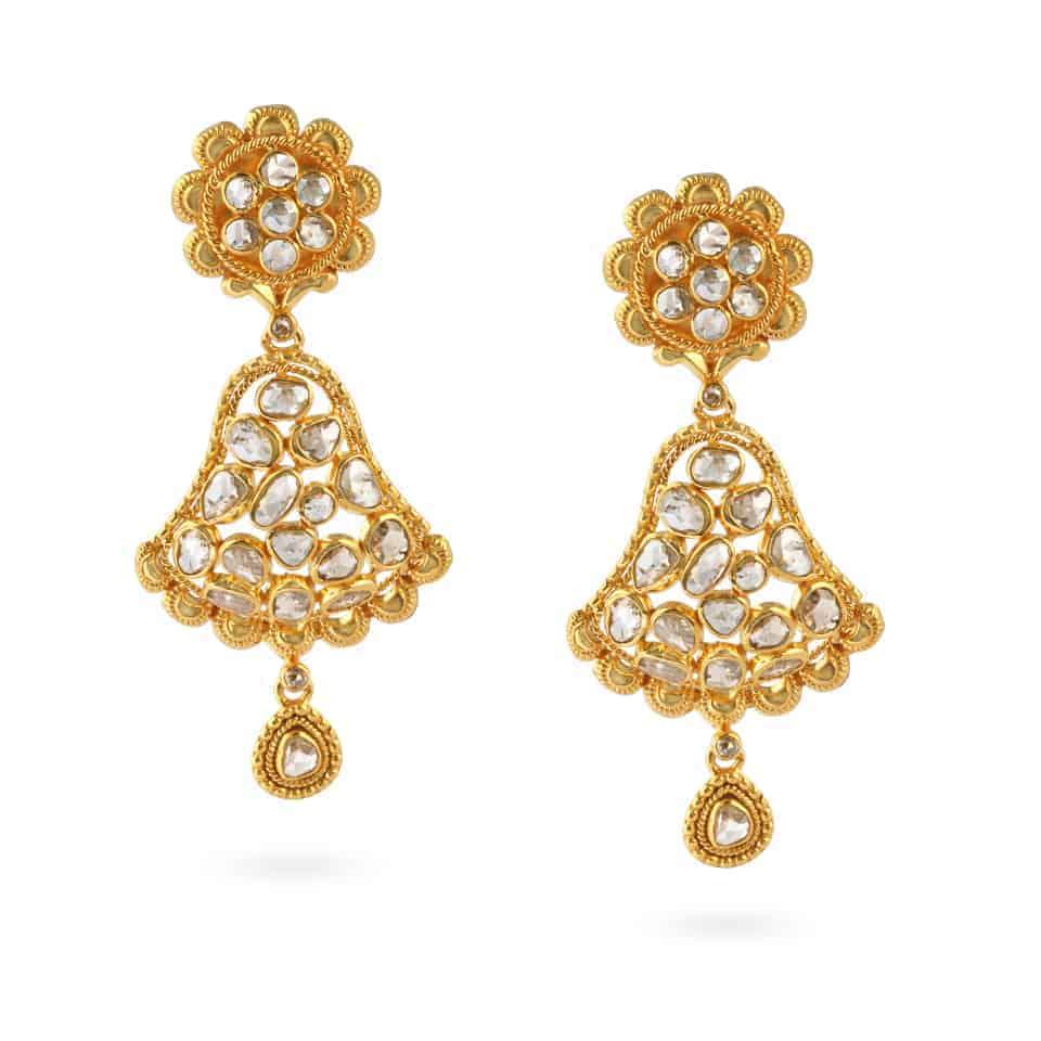 23669 - Diya 22ct Gold Uncut Polki Diamond Earrings