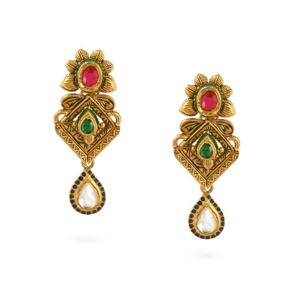23966 - 22ct Gold Kundan Earrings