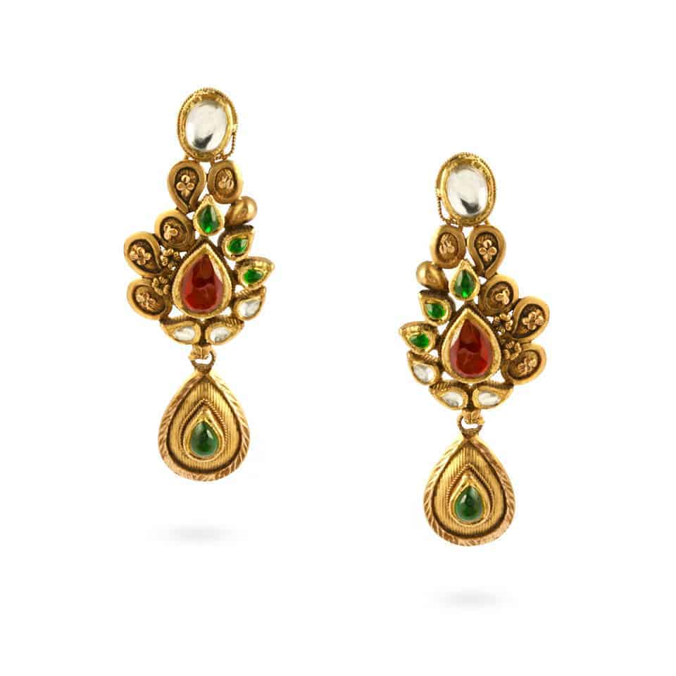 23974 - 22ct Gold Kundan Earrings