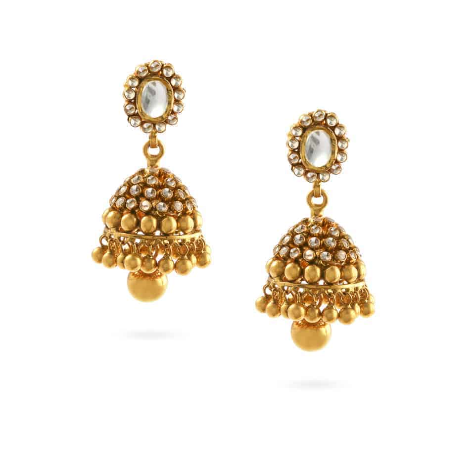 24056 - 22ct Gold Polki Stone Earrings