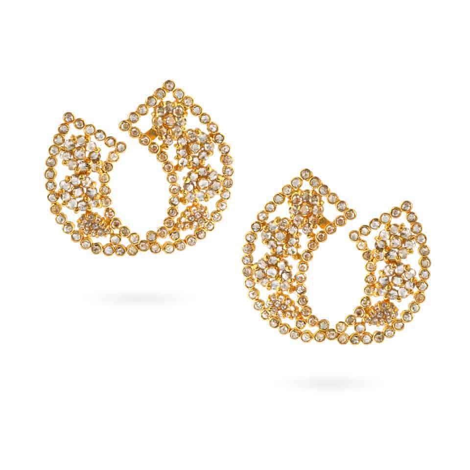 24202 - Diya 22ct Gold Rose cut Polki Diamond Earrings