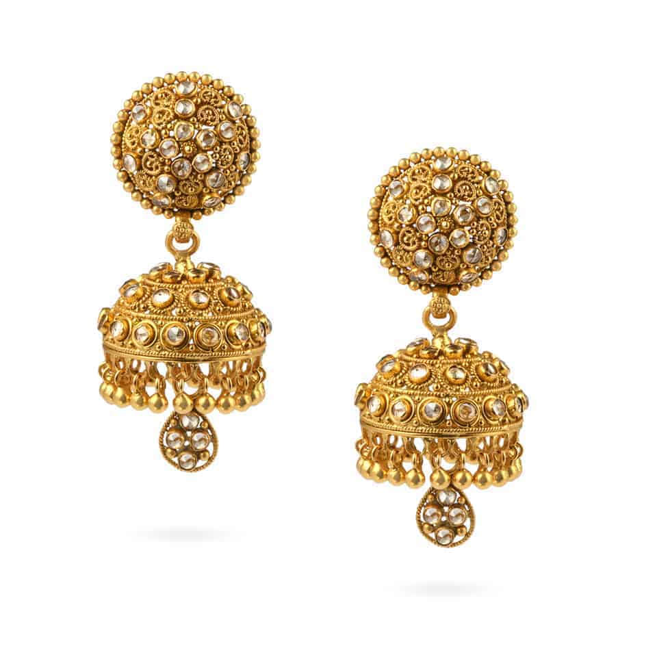 24215 - 22ct Polki Stone Earrings