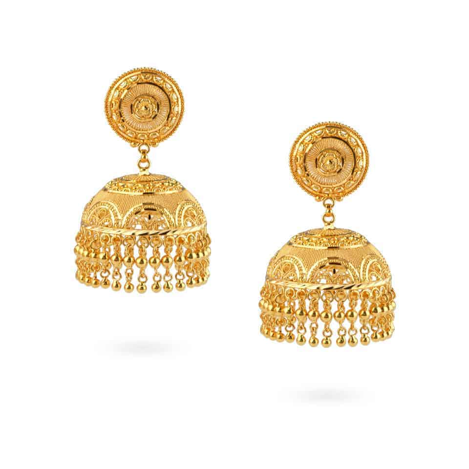 24463 - Jali 22ct Gold Filigree Jhumka Earring