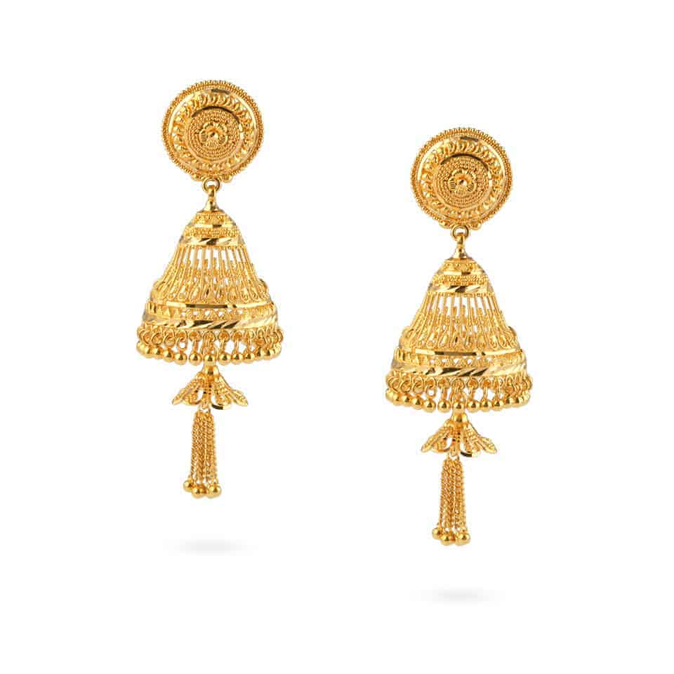 24464 - Jali 22ct Gold Filigree Earrings
