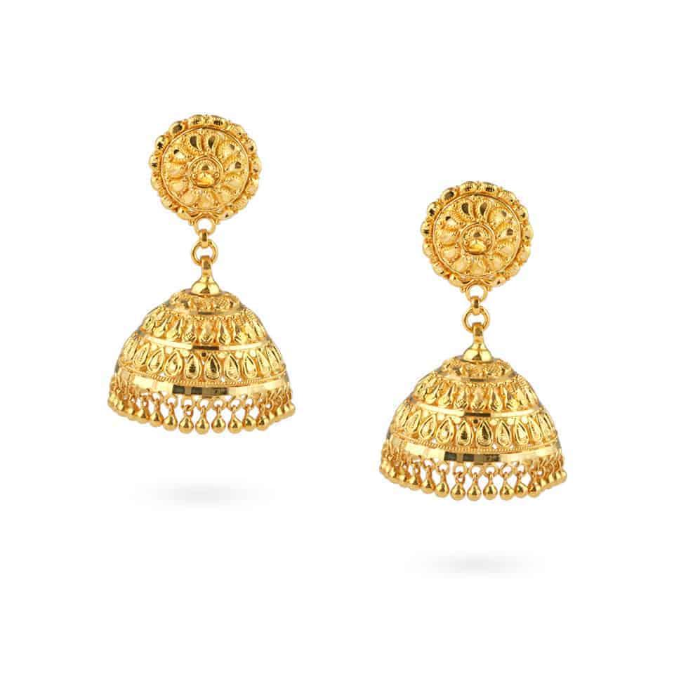 24465 - Jali 22ct Gold Filigree Earrings