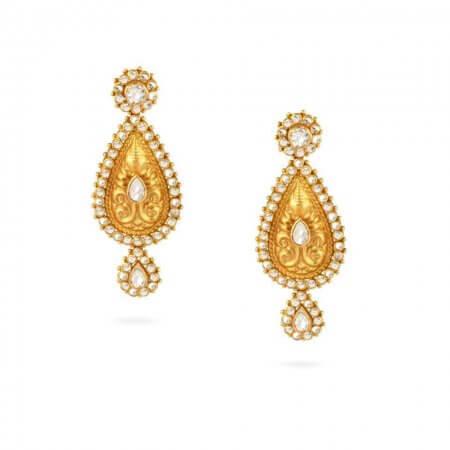 24590 - 22ct Uncut Polki Stone Earrings