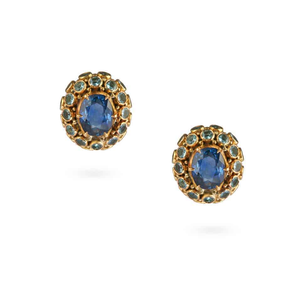24865 - Blue Sapphire And Aquamarine Earrings