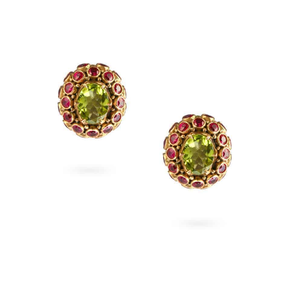 24874-2 - Peridot And Ruby Earrings