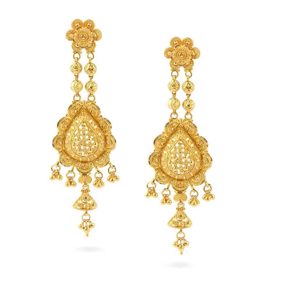 26065 - Jali 22ct Gold Filigree Earrings