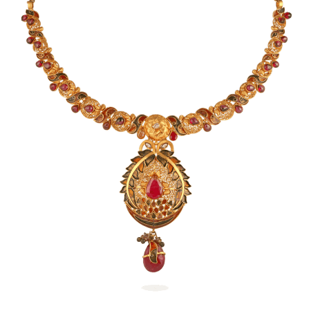 12016 - 22ct Gold Ruby Necklace