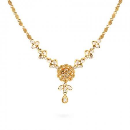 23661 - Diya 22ct Gold Uncut Polki Diamond Necklace