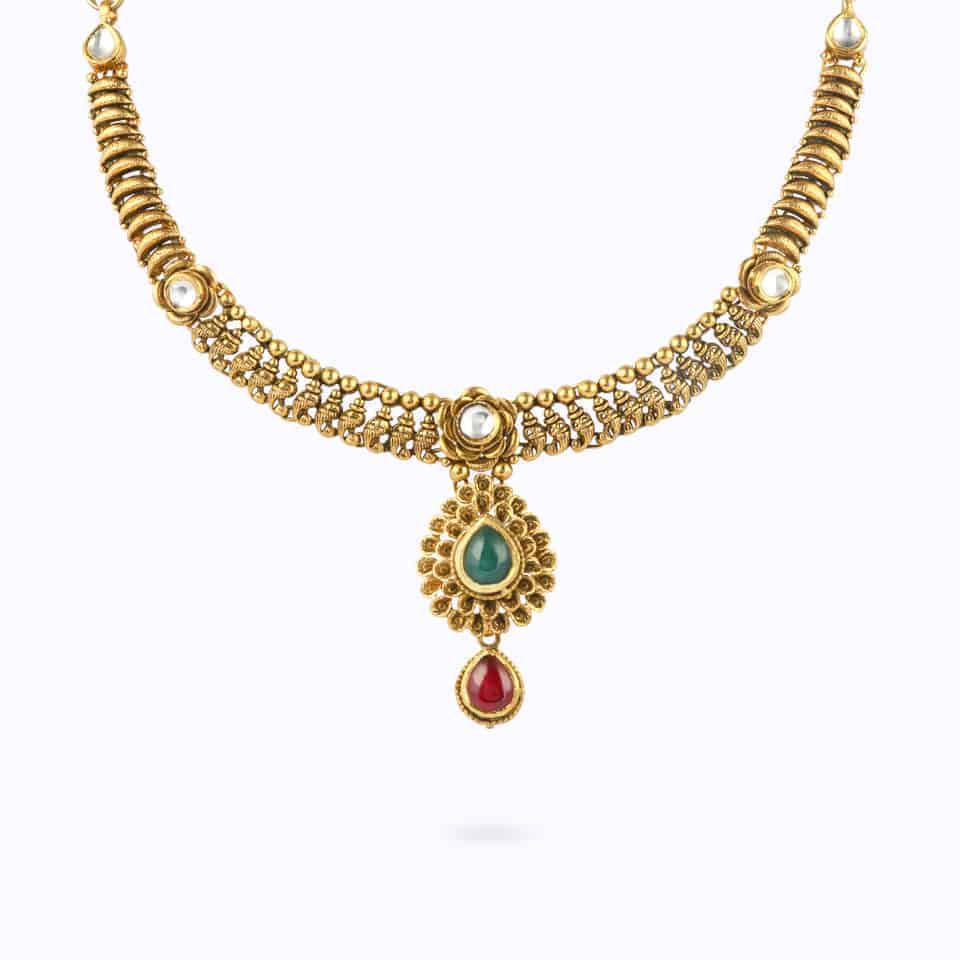 23967 - 22ct Gold Kundan Necklace