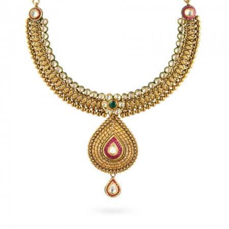 23971 - 22ct Gold Kundan Necklace