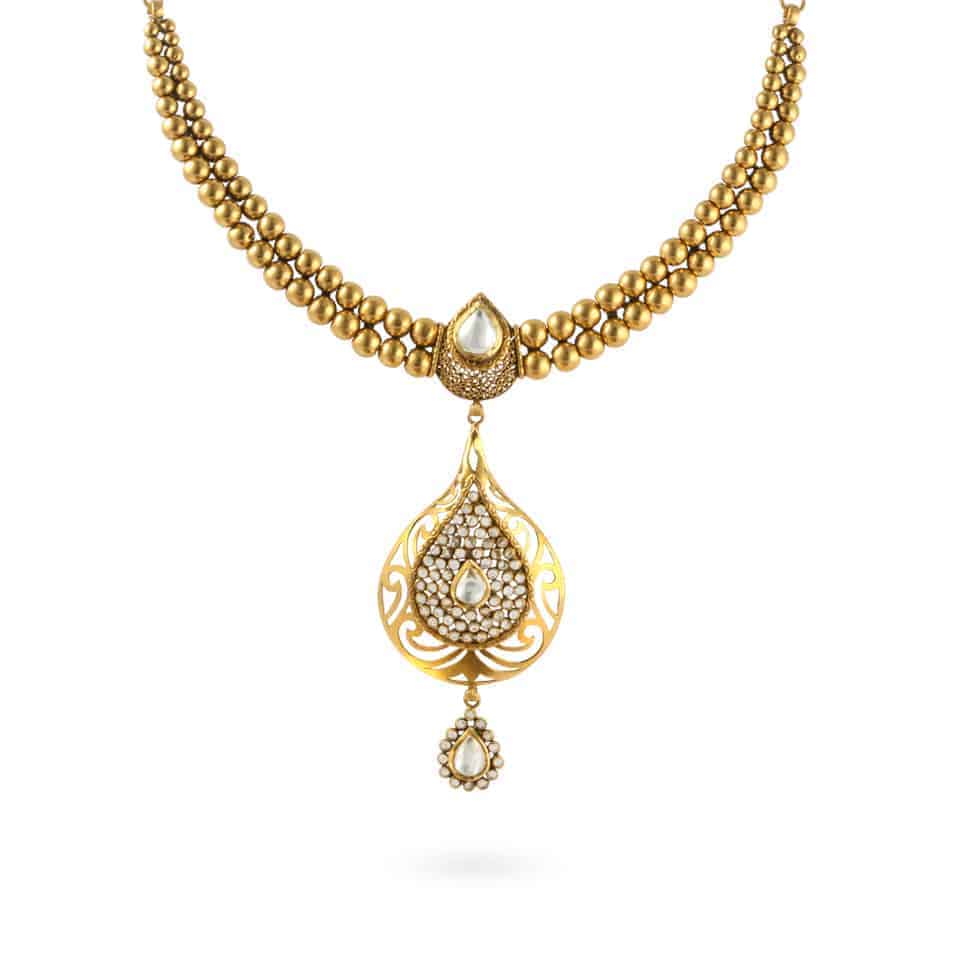 24049 - 22k Bridal Necklace with Kundan Setting